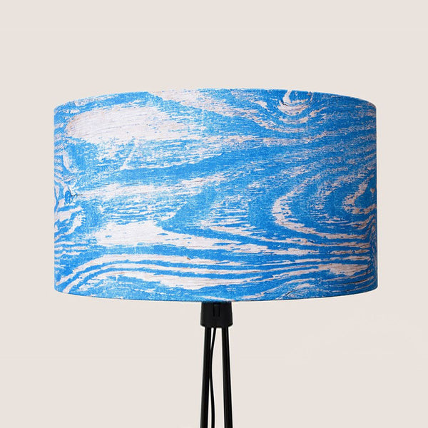 "Wood Grain Blue 18"" lampshade"