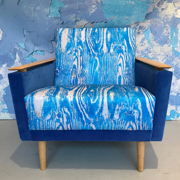 Wood Grain Blue 1960's arm chair
