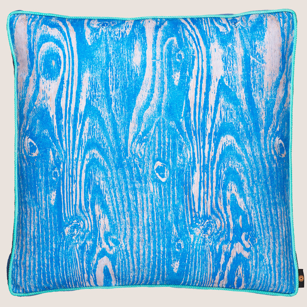 Wood Grain Blue floor cushion with gusset