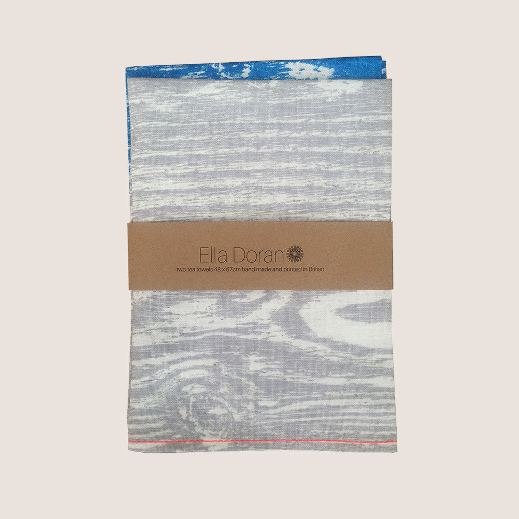Wood Grain Blue and Grey tea towel set of 2