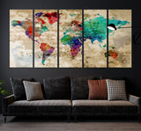 81898 - World Map Wall Art- World Map Canvas- World Map Print-  World Map Poster- World Map Art- World Map Push Pin