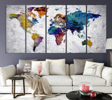 39945 - World Map Wall Art, World Map Canvas, World Map Print, World Map Poster, World Map Art, World Map Push Pin, Large Wall Art World Map Canvas