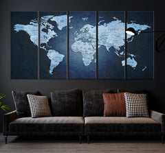 26249 - World Map Canvas Print, World Map Push Pin Canvas Print, Large Wall Art World Map Push Pin Canvas,