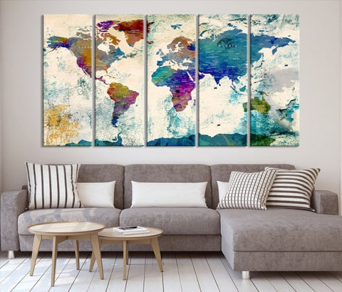 74650 - Extra Large 5 Panel Wall Art World Map Canvas Print | Framed | Ready to Hang