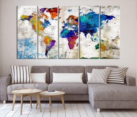 78188 - Watercolor Large World Map Canvas Print for Modern Office and Living Room Decor