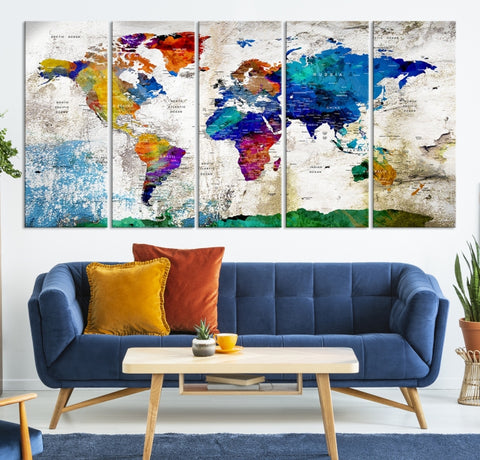 53868 - Modern 5 Panel Large World Map Canvas Print | Ready to Hang | Framed