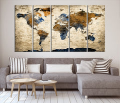 Grunge Blue and Brown World Map Wall Art Canvas Print