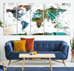 World Map Push Pin Canvas Print