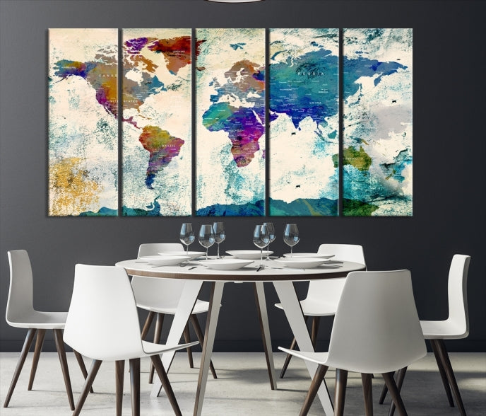 Extra Large Wall Art 3 Panel World Map Canvas Print | Framed | Ready to Hang-Extra Large Wall Art Canvas Print