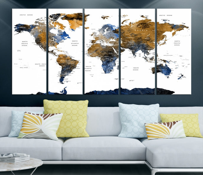 Extra Large Dark Colored Push Pin Watercolor World Map Wall Art-Extra Large Wall Art Canvas Print