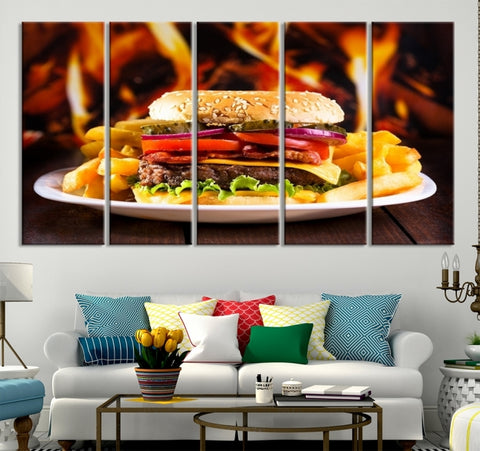 30465 - Fast Food Hamburger with Flame on Background Canvas Print
