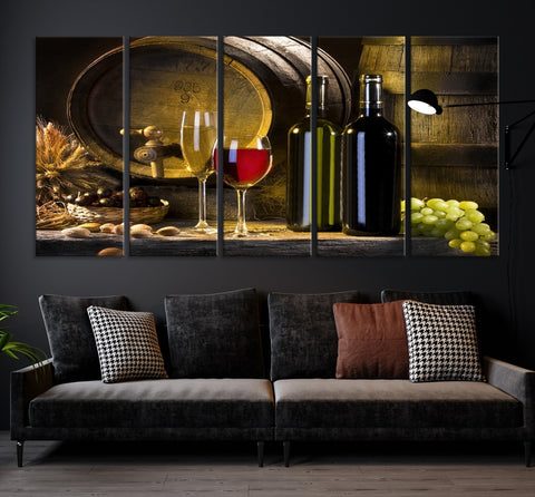66961 - Large Wall Art Red and White Wine with Bottles and Tun Canvas Print
