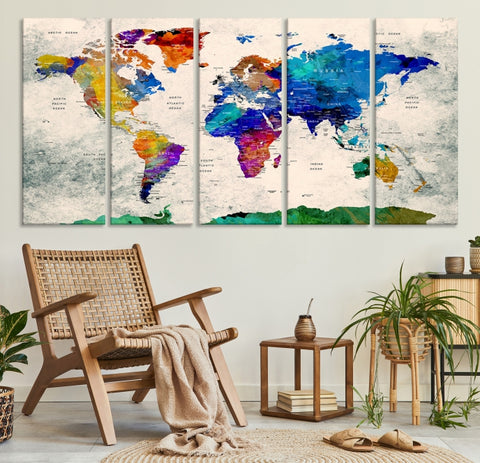 Large World Map Print on Canvas