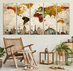 Large Wall Art World Map Push Pin Canvas Print-Extra Large Wall Art Canvas Print