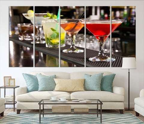 59682 - Alcoholic Cocktails Canvas Print - Margharita, Mojito, Martini and Black Russian Canvas for Bar and Pubs