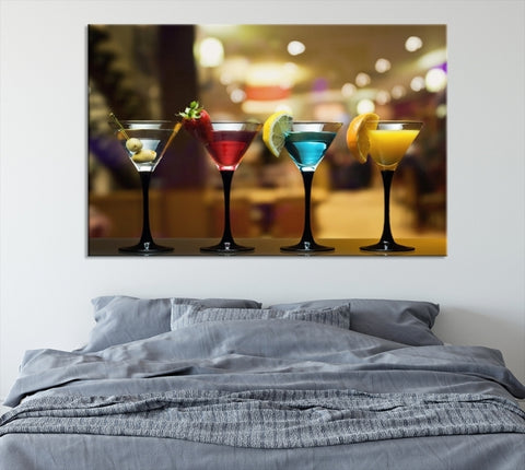 71817 - Alcoholic Cocktails Canvas Print for Cafe Restaurant and Bar - Martini Canvas Print - Margharita Cocktail Canvas Print