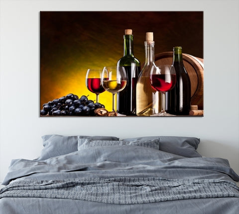 47446 - Large Wall Art Red and White Wine Canvas Print