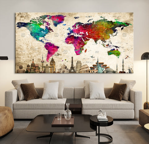 97068 - World Map Canvas Print, Wonder of World Map Push Pin Canvas Print, Large Wall Art World Map Push Pin Canvas,