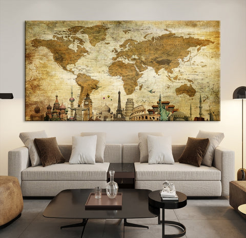 33911 - World Map Canvas Print, Wonder of World Map Push Pin Canvas Print, Large Wall Art World Map Push Pin Canvas,