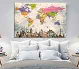 13750 - World Map Canvas Print, Wonder of World Map Push Pin Canvas Print, Large Wall Art World Map Push Pin Canvas,