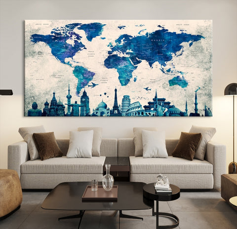 50319 - World Map Canvas Print, Wonder of World Map Push Pin Canvas Print, Large Wall Art World Map Push Pin Canvas,