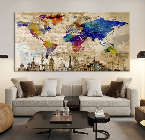 31743 - World Map Canvas Print, Wonder of World Map Push Pin Canvas Print, Large Wall Art World Map Push Pin Canvas,