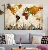 39312 - World Map Canvas Print, Wonder of World Map Push Pin Canvas Print, Large Wall Art World Map Push Pin Canvas,