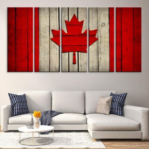 22674 - Large Wall Art Canada Flag Canvas Print- Watercolor Flag of Canada Canvas Print- Modern XXL Large Wall Art Canada Flag Canvas Print Giclee Canvas Print Extra Large Wall Art Canvas Print
