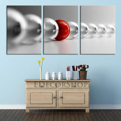 3 Piece Red and Gray Balls Canvas ART Print Ready to Hang 3 Panels Stretched on Deep 3cm Frame - MC158-Wall Art Canvas-Extra Large Wall Art Canvas Print-Extra Large Wall Art Canvas Print