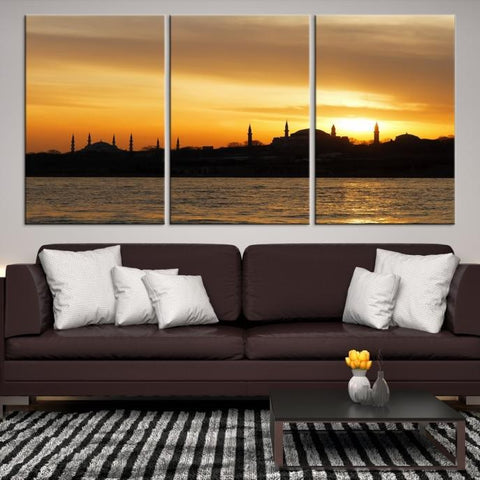 31152 - Large Wall Art Turkey Istanbul Skyline Canvas Print-Giclee Canvas (Wrapped)-AZULA Istanbul-Short 3 Panel-3-16x24-Extra Large Wall Art Canvas Print