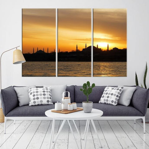 31152 - Large Wall Art Turkey Istanbul Skyline Canvas Print-Giclee Canvas (Wrapped)-AZULA Istanbul-Long 3 Panel-Per Panel 16x32 Inches-Extra Large Wall Art Canvas Print