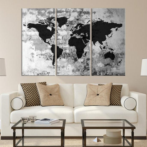 31808 - Large Wall Art World Map Watercolor Canvas Print - World Map Poster Print-Giclee Canvas Print-Extra Large Wall Art Canvas Print-Extra Large Wall Art Canvas Print