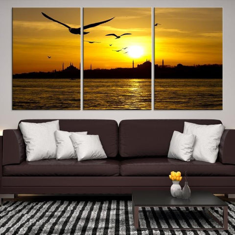 32041 - Large Wall Art Turkey Istanbul Skyline Canvas Print-Giclee Canvas (Wrapped)-AZULA Istanbul-Short 3 Panel-3-16x24-Extra Large Wall Art Canvas Print