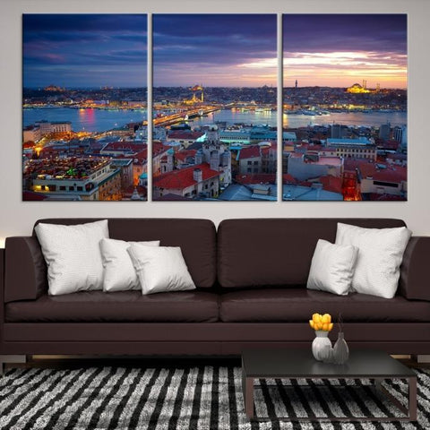 32441 - Large Wall Art Turkey Istanbul Skyline Canvas Print-Giclee Canvas (Wrapped)-AZULA Istanbul-Short 3 Panel-3-16x24-Extra Large Wall Art Canvas Print