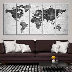33465 - Large Wall Art World Map Canvas Print- Custom World Map Push Pin Wall Art- Custom World Map Canvas Poster Print- Personalized Wall Art-Extra Large Wall Art Canvas Print-Extra Large Wall Art Canvas Print