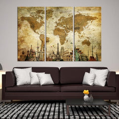 33911 - World Map Canvas Print, Wonder of World Map Push Pin Canvas Print, Large Wall Art World Map Push Pin Canvas,-Giclee Canvas Print-Push-Pin-World-Map-Extra Large Wall Art Canvas Print