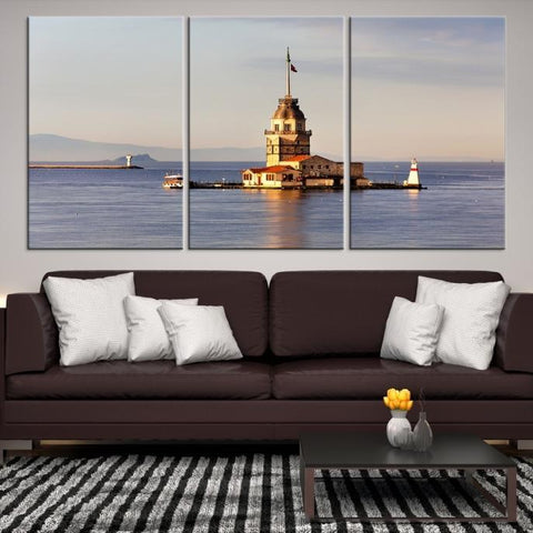 35442 - Large Wall Art Turkey Istanbul Skyline Canvas Print-Giclee Canvas (Wrapped)-AZULA Istanbul-Short 3 Panel-3-16x24-Extra Large Wall Art Canvas Print