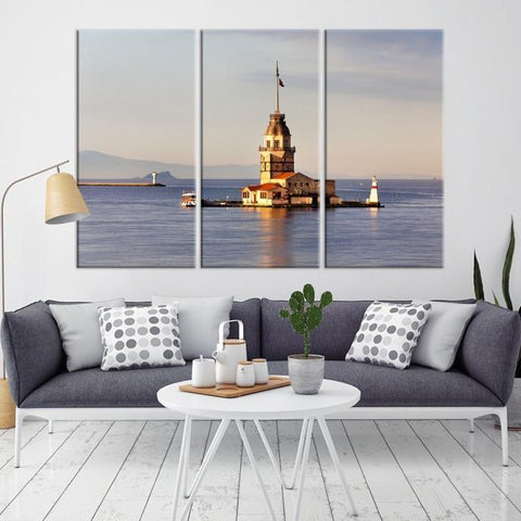 35442 - Large Wall Art Turkey Istanbul Skyline Canvas Print Giclee Canvas (Wrapped) AZULA Istanbul Long 3 Panel Per Panel 16x32 Inches
