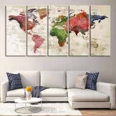 35552 - Large Wall Art World Map Canvas Print- Custom World Map Push Pin Wall Art- Custom World Map Canvas Poster Print- Personalized Wall Art-Extra Large Wall Art Canvas Print-Extra Large Wall Art Canvas Print