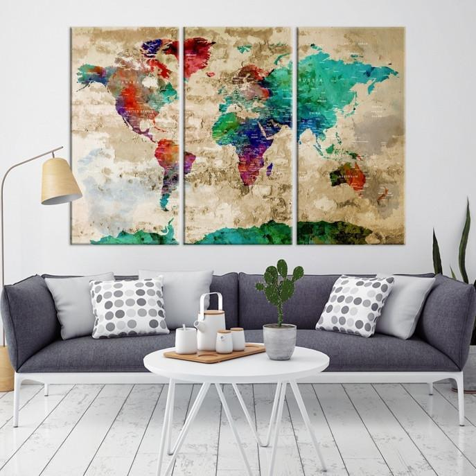 37186 - World Map Wall Art- World Map Canvas- World Map Print- World Map Poster- World Map Art- World Map Push Pin- Push Pin World Map- Giclee Canvas Print Extra Large Wall Art Canvas Print