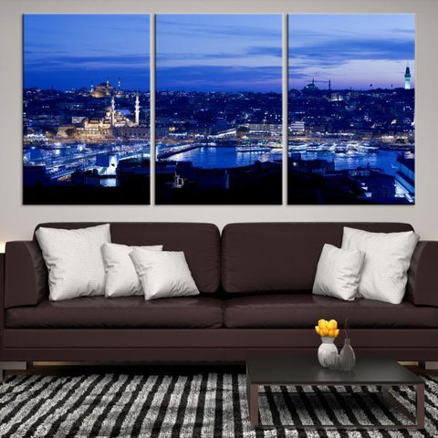 37375 - Large Wall Art Turkey Istanbul Skyline Canvas Print-Giclee Canvas (Wrapped)-AZULA Istanbul-Short 3 Panel-3-16x24-Extra Large Wall Art Canvas Print