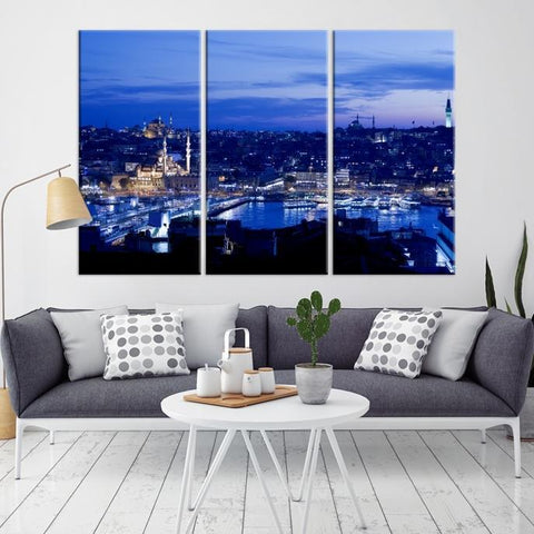 37375 - Large Wall Art Turkey Istanbul Skyline Canvas Print-Giclee Canvas (Wrapped)-AZULA Istanbul-Long 3 Panel-Per Panel 16x32 Inches-Extra Large Wall Art Canvas Print