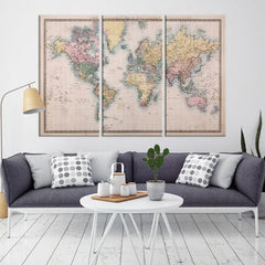 37915 - Large Wall Art Old World Map Canvas Print - Antique World Map Canvas Print - Antique Poster Print-Giclee Canvas Print-Extra Large Wall Art Canvas Print-Extra Large Wall Art Canvas Print