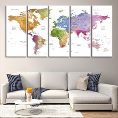 38626 - Large Wall Art World Map Canvas Print- Custom World Map Push Pin Wall Art- Custom World Map Canvas Poster Print- Personalized Wall Art-Extra Large Wall Art Canvas Print-Extra Large Wall Art Canvas Print