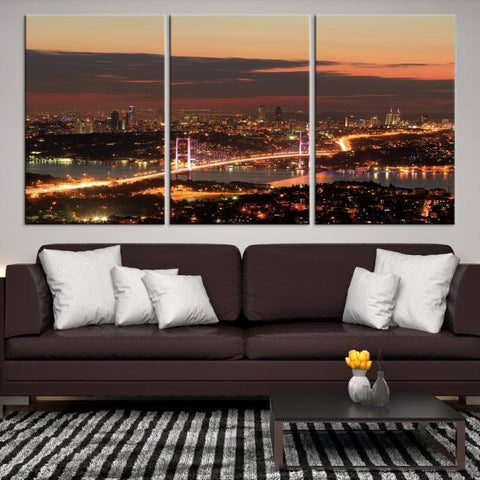 38950 - Large Wall Art Turkey Istanbul Skyline Canvas Print-Giclee Canvas (Wrapped)-AZULA Istanbul-Short 3 Panel-3-16x24-Extra Large Wall Art Canvas Print