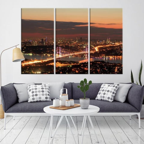 38950 - Large Wall Art Turkey Istanbul Skyline Canvas Print-Giclee Canvas (Wrapped)-AZULA Istanbul-Long 3 Panel-Per Panel 16x32 Inches-Extra Large Wall Art Canvas Print