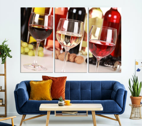 26351 - Large Wall Art Red, White and Rose Wine in Glass Canvas Print