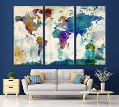 Extra Large Wall Art 3 Panel World Map Canvas Print | Framed | Ready to Hang