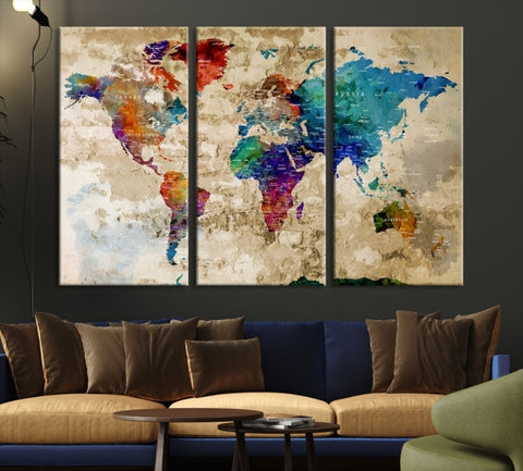 World Travel Map Canvas Print-Extra Large Wall Art Canvas Print