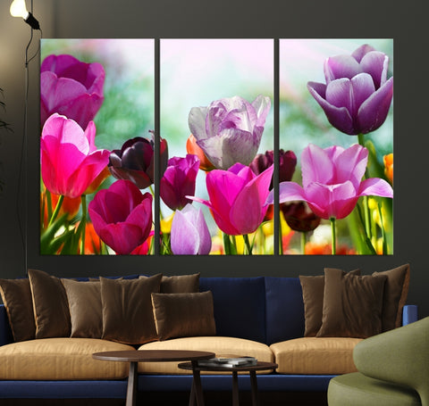 Large Wall Art Colorful Flowers Panoramic Canvas Print